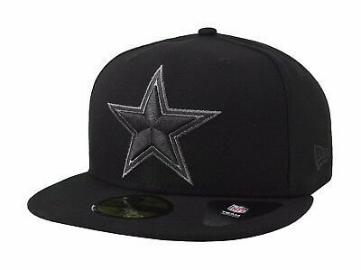 New Era 59Fifty Nfl Cap Dallas Cowboys Basic Fitted Hat Black Charcoal Gray