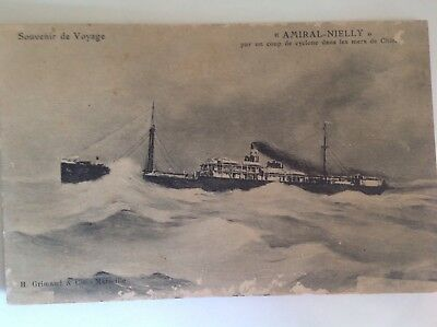 "Vintage postcard- Souvenir of The Voyage - "" Amiral-Nielly"" Cargo ship"