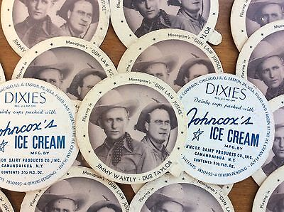 Vintage Dixies Ice Cream Lid Dixie Cup Johncox Dairy Jimmy Wakely & Dub Taylor