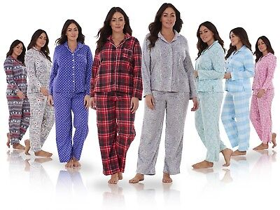 Ladies Stunning Printed Fleece Pyjama Set PJ's Winter Warm Nightwear REDUCED!!!!