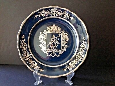 VTG Gijon City Asturias Spain ''Coat of Arms'' Cobalt Blue & Silver 10'' Plate