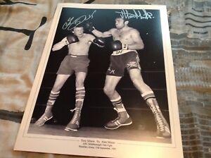 ALAN MINTER TONY SIBSON HAND SIGNED WORLD CHAMPION HUGE BOXING 16 X 12 PHOTO COA
