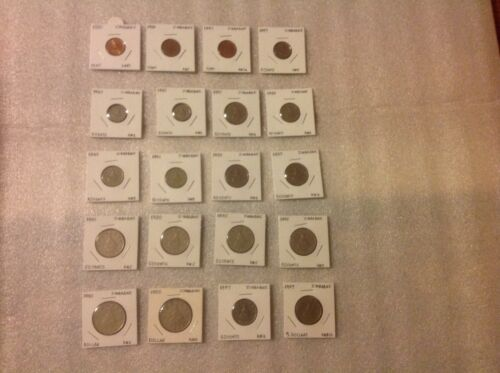 ZIMBABWE (Rhodesia)1980-1997 Set of 20 Coins-1,5,10,20,50 Cents, 1,2 Dollars
