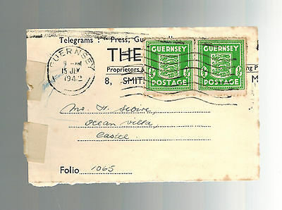 1942 Guernsey Channel Islands England Occupation Telegram Cover Front