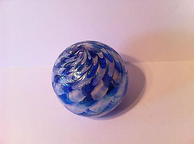 "Decorative Blue White Art Glass Globe Base 17"" - For Oil Lamp Swirl Iridescent"