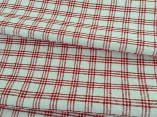 Antique Vintage French red /white plaid linen fabric upholstery faded decor