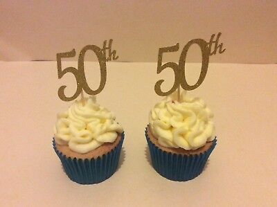 50th Anniversary Gold (50th BIRTHDAY OR ANNIVERSARY GLITTER GOLD CUP CAKE TOPPERS X 12 )