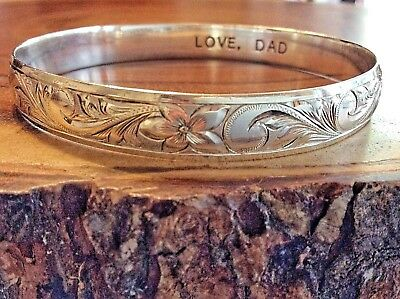 "VTG Sterling Silver Royal Hawaiian Heritage Jewelry Bangle Bracelet  ""Akiliana"""