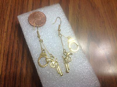DOUBLE-SIDED GUN 22 HANDCUFFS SHELL GUN  REVOLVER PISTOL GOLD earrings - Handcuffs Earrings