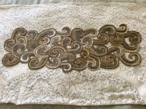 """PIER 1 IMPORTS GLASS BEADS MIXED BEADS TABLE RUNNER 13 1/2"""" X 35"""""""