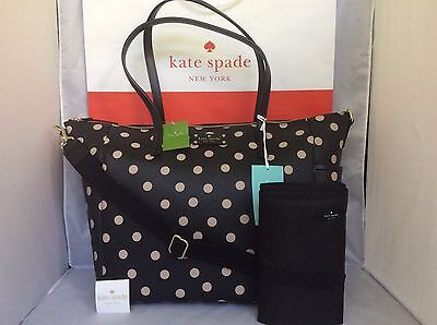 NWT Christmas Gift Black Dot Kate Spade Wellesley Printed Adaira BABY Diaper Bag