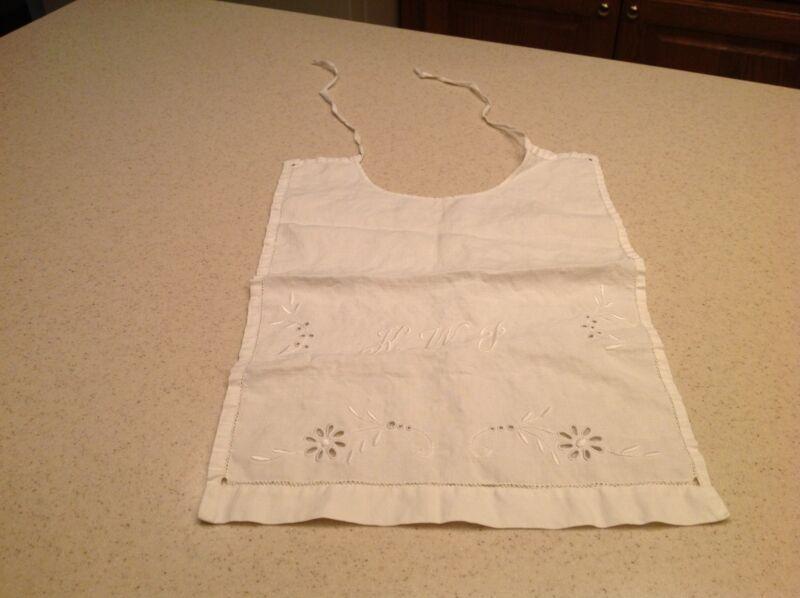 "Vintage  handmade baby child bib embroidered monogram ""KWJ"" Floral White"