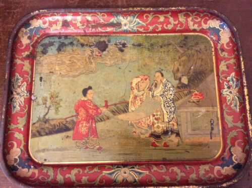 Early Antique Hand Painted Toleware Oriental Chinese Tin Tray, Dragon, 11 x 8""