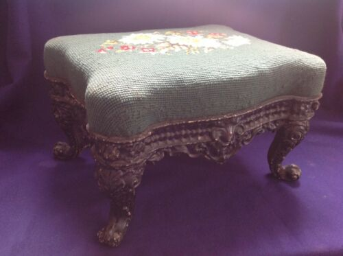 RARE ANTIQUE FRENCH PROVINCIAL ORNATE CAST IRON FOOTSTOOL FLORAL NEEDLEPOINT TOP