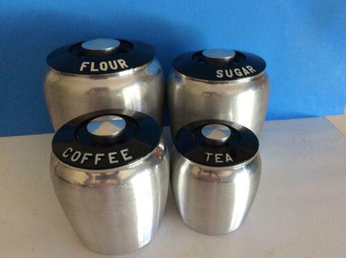 Vintage Kromex Aluminum 4 Piece Canister Set Silver Black Tops Retro W/Lids
