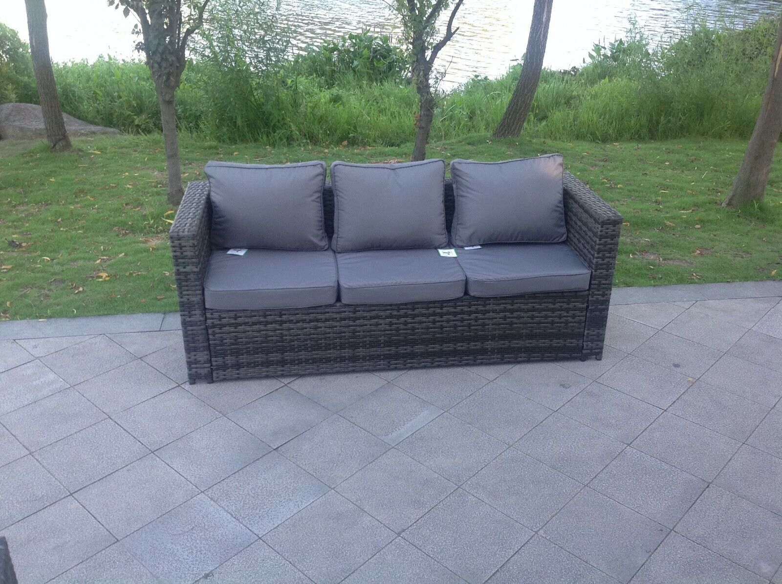 Garden Furniture - rattan 3 seater lounge sofa chair patio outdoor garden furniture with cushion