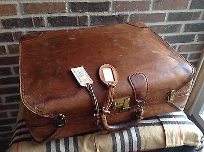 RARE VINTAGE 1970's BRITISH TAN BELTING LEATHER PORSCHE RACK SUITCASE BAG R$1895