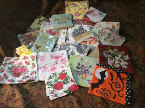 Lot of 20 napkins of various sizes, themes and designs!