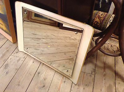 Retro Mirror 1950s/ 60s Funky Curved Back Cream and Gold 24 inch very rare