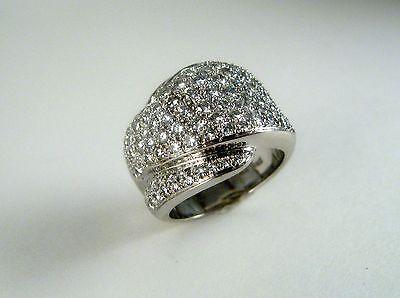 Garavelli Aldo Ladies Diamond Fashion Dome Ring in 18K White Gold 2.70 ct.