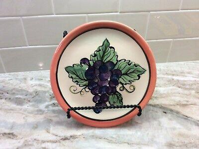 """1995 Vicki Carroll Pottery Purple Grapes Salad Plate Bon Appetite 7.75"""""""