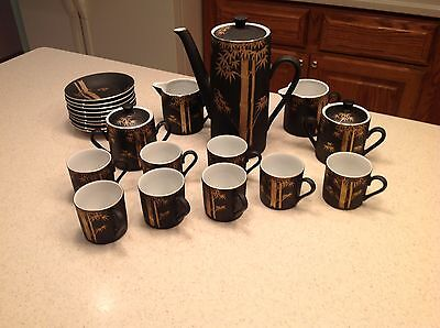 Vintage Japanese Tea Set Black With Gold Accents Design 25 pieces Very Nice!
