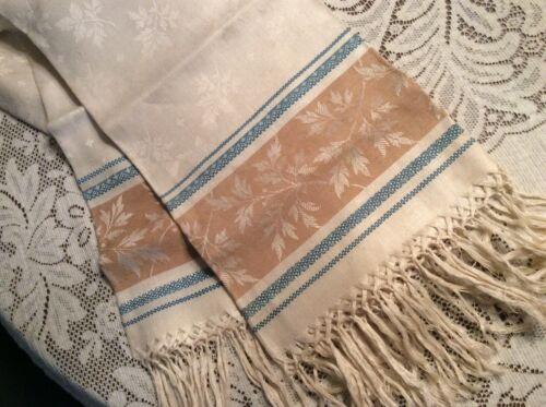 Antique Vtg Linen Damask Jacquard  Show Towel Leaves Blue Beige Gold Hand Fring