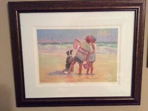 LUCELLE RAAD **SEA DOGS** SERIGRAPH ON PAPER, framed, COA, numbered, signed
