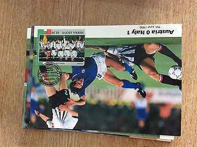 a3a postcard unused world cup 1990 austria 0 italy 1 team stamp