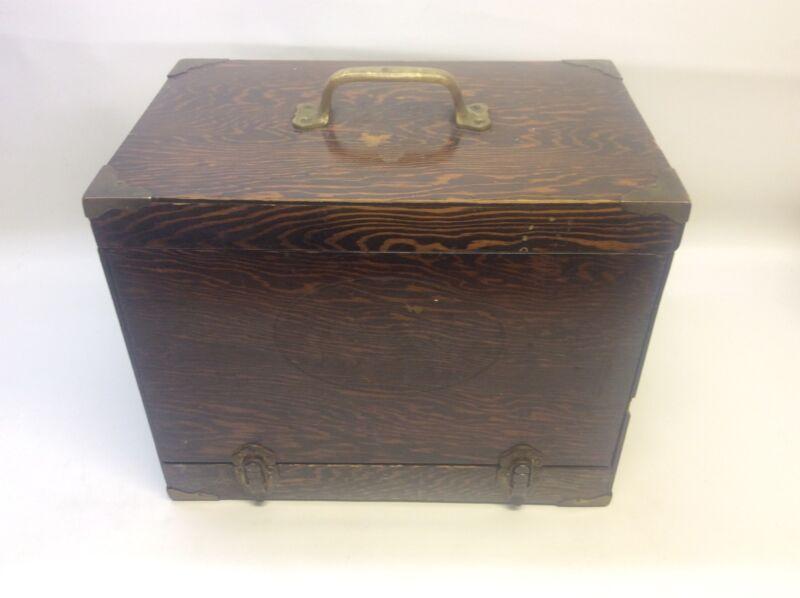 Vintage Wood & Brass Fishing Tackle Box Hoffman Semico