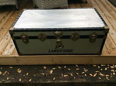 Classic Leigh Luggage Ltd Medium Size Metal Storage Trunk Used Condition