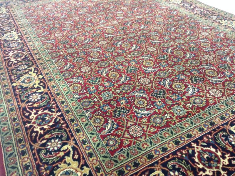 5 X 7 Persian Oriental Area Rug Geometric Hand Knotted Red Navy  Office Study
