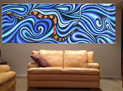 Sea Snake Aboriginal Art Painting Dots huge Authentic ocean By Jane Aussie for sale  Shipping to Canada