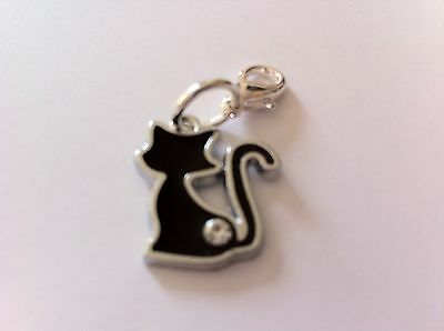 Black Cat Zip Charm Lucky Handbag Bracelet Enamel Silver Diamante Bag