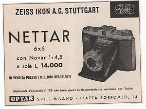 Pubblicita-1957-IKONTA-NETTAR-ZEISS-IKON-FOTO-PHOTO-old-advert-werbung-publicite