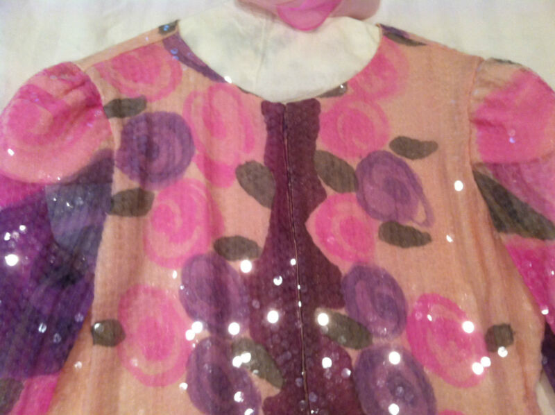 VINTAGE-JUDY HORNBY-PINK PURPLE-SEQUIN SILK CHIFFON COCKTAIL WEDDING DRESS