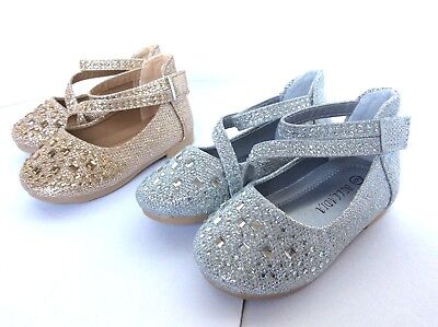 Girls Kids jeweled glitter strip ballet flats shoes  on sale now gold - Girls On Sale