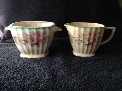 Sebring Pottery Porcelain Ivory Sugar and Creamer