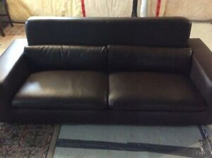 Brown leather modern style couch