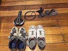 Assorted road and mountain bike parts and wheels -sorry saddle sold North Hobart Hobart City Preview