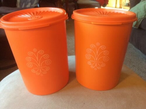 2 Vintage Tupperware Tangerine Orange Servalier Canister #811 Starburst Lid