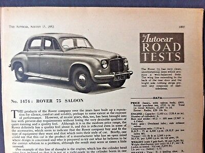 ROVER 75 SALOON -1952 -  Road Test removed from The AUTOCAR + Launch Article