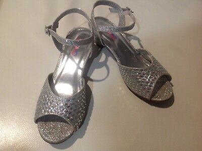 Girls Silver Glitter Glittery Sparkle Party Heel Shoes Size 2