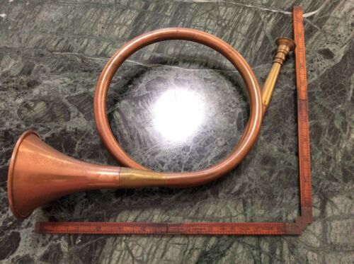 Vintage Copper & Brass Fox Horn Made in England Copper Bugle