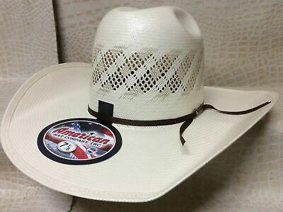 American Hat  Rodeo Western Cowboy Straw Hat Minnick Crown CHL Brim Brim Straw Cowboy Hat