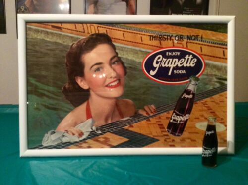 VINTAGE GRAPETTE SWIMMINGPOOL GIRL SIGN