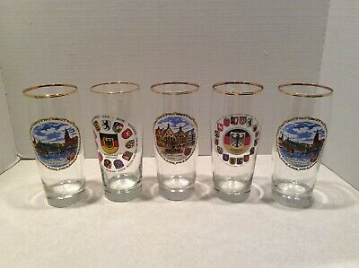 German tall beer glasses, LOT of 5 different