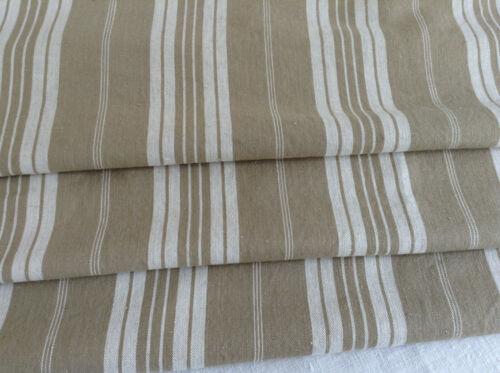 Antique vinatge French Linen striped ticking fabric herringbone weave upholstery