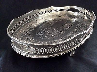 Fine Quality Sheffield Silver On Copper Footed Gallery Tray BirdClaw Feet c.1920