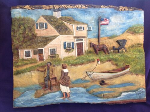 VINTAGE AMERICAN FOLK ART WOODEN RELIEF CARVING PLAQUE FISHERMAN NAUTICAL VIEW